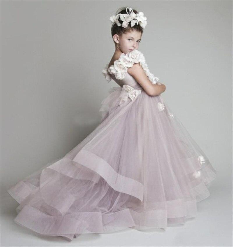Girls   Pageant   Dresses   2015 Hand Made   Flowers   Tulle Purple Floor Length Little   Girls   Party   Dress     Flower     Girl     Dresses   For Weddings