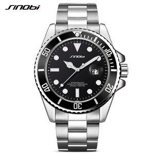 Image 3 - SINOBI שעון גברים 2020 מקרית שעונים תאריך נירוסטה בנד יוקרה שעון ספורט שעונים זהב Relogio Masculino