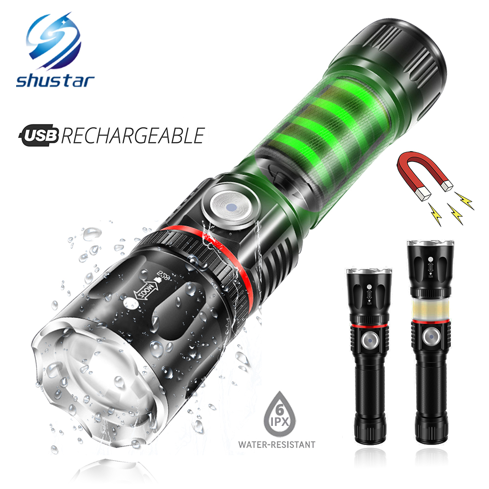 LED Flashlight Waterproof Torch Magnet-Design Usb-Charging Cob-Lamp Tail Support-Zoom