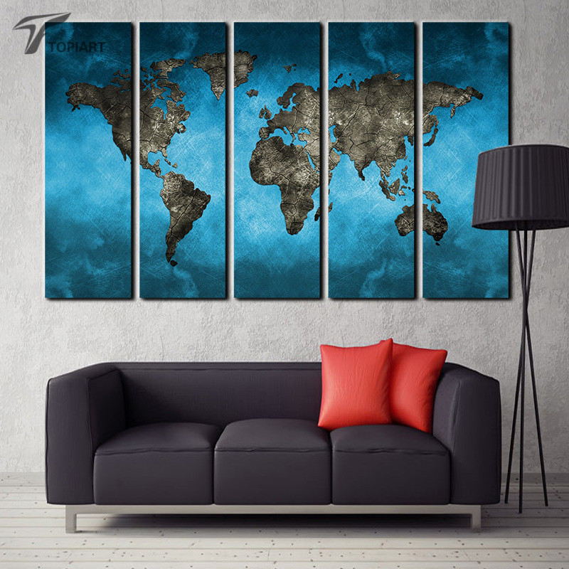 world map canvas art prints 5 panel large wall painting set abstract blue sky the earth