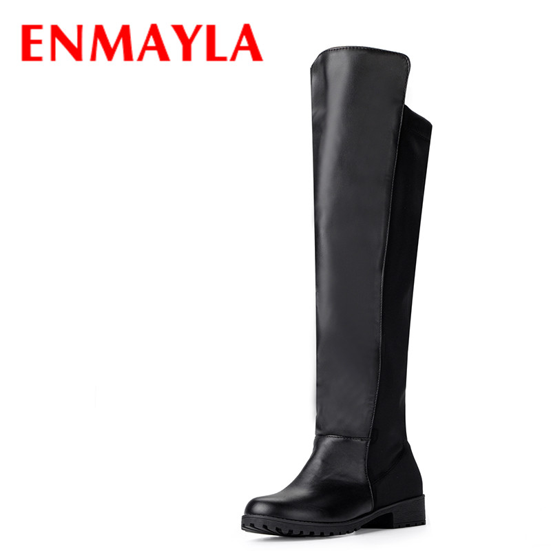 ENMAYLA Winter Slip-on Flats Thigh High Boots Women Casual Round Toe Shoes Womens Black PU Flock Knee High Knight Boots