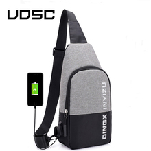 лучшая цена UOSC Small Usb Charge One Shoulder Bag Men Messenger Bags Male Waterproof Sling Chest Bag 2019 New Bagpack Cross Body Bags