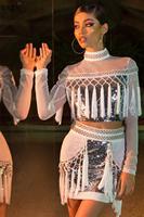 VAZN 2019 Heavy Industry Sexy Fashion Turtleneck Full Sleeve Top Mini Skirts Tassel Sexy Party Slim Set For Women CY8112