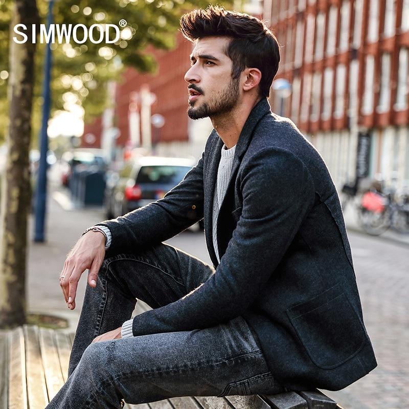 SIMWOOD 2019 Herfst Winter Nieuwe Blazers Mannen Smart Casual Pakken Wollen Jassen Mode Slanke Jas Hoge Kwaliteit Plus Size XZ017008-in Blazers van Mannenkleding op  Groep 1