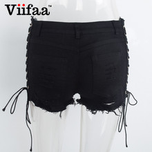 Sexy Lace Up Hollow Out Ripped Shorts