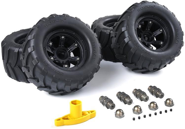 FG grandes roues et pneus avec adpters en alliage et clé de roue pour 1/5 FG (4 pièces/ensemble) taille: 220x100mm 86021-in Pièces et accessoires from Jeux et loisirs    2
