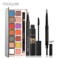 Buy 3 Get 1 Gfit FOCALLURE Black Color Mascara Liquid Eyeliner Pencil 14 Colors Glitter Pigment Eyeshadow with Eyebrow