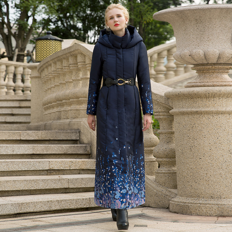 High Quality S-4XL Cotton Wool Big Coat Women Printed Flowers Winter Navy Parka Plus Size X long Jacket Warm With Belt Cap 1037 hot autumn womens slim wool warm coat parka navy blue size s xl light tan red navy