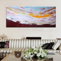 Above the Cloud Acrylic Paint Home Decoration Oil Painting on canvas hight Quality Hand painted Wall Art 24X48 inch ,36X72 inch