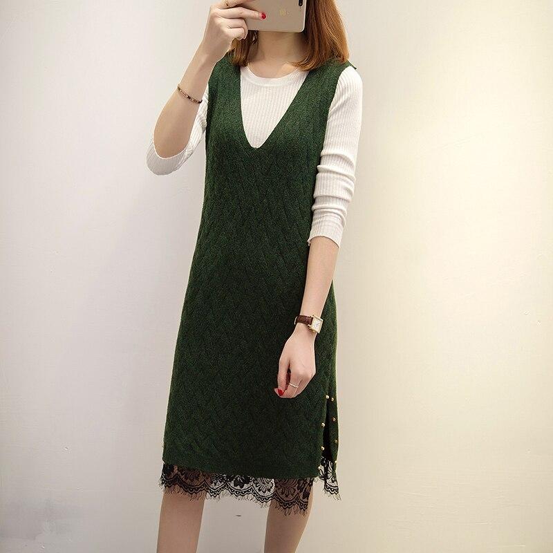 2017 New Women dress Knitting Laceading Straps Long Sweater Dresses Brown Black Dark Green 2891
