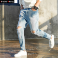 2017 New Men 's Jeans Fashion Hole Sky Blue Slim Elasticity Skinny Jeans Brand Men Clothing Large Size 28-40