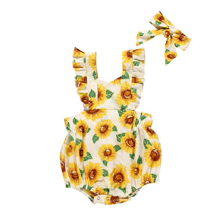 Kids Baby Girl Summer Clothes Ruffle Sunflower Printed Romper headband romper Outfits Baby Clothing()