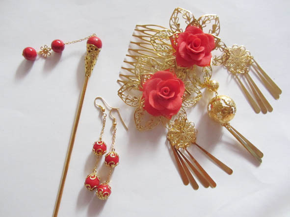 3 Piece Set Red Bride Wedding Hair Accessory Head Piece Bride Flower Hanfu Costume Xiu He Fu Wedding Use Hair Jewelry oriental beauty costume hanfu hair accessory set princess guantao hair set tv play schemes of a beauty full set hair jewelry