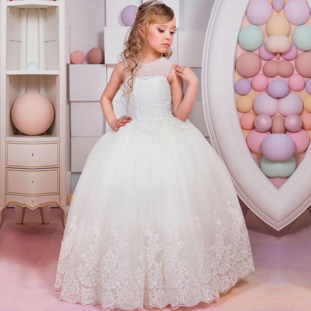 2017 New Arrival First Communion Gowns Sleeveless Ball Gown Lace Up O-neck Appliques Flower Girl Dresses Vestidos Longo Hot 4pcs new for ball uff bes m18mg noc80b s04g