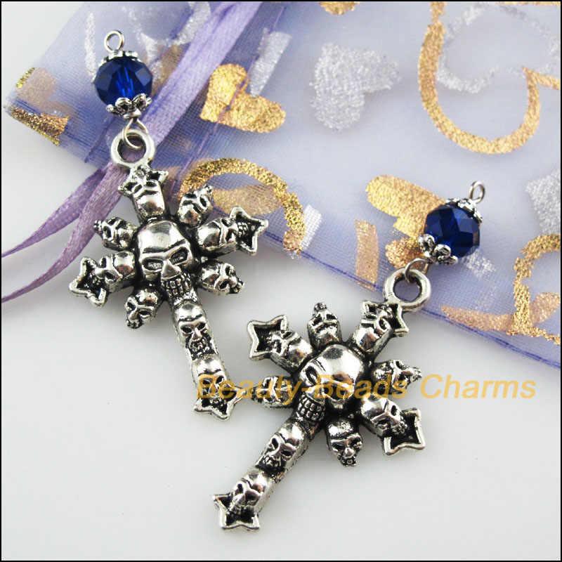 3 adet tibet gümüş renk mavi kristal boncuklar çapraz kafatası Charms kolye 28x58mm