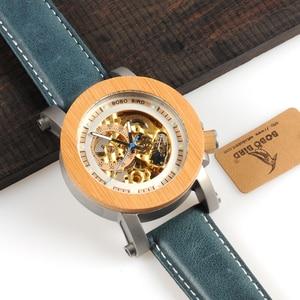 Image 4 - בובו ציפור WK13 במבוק Mechanica שעון Vintage ברונזה שלד שעון זכר עתיק Steampunk מזדמן כהה אוטומטי להקת Homme