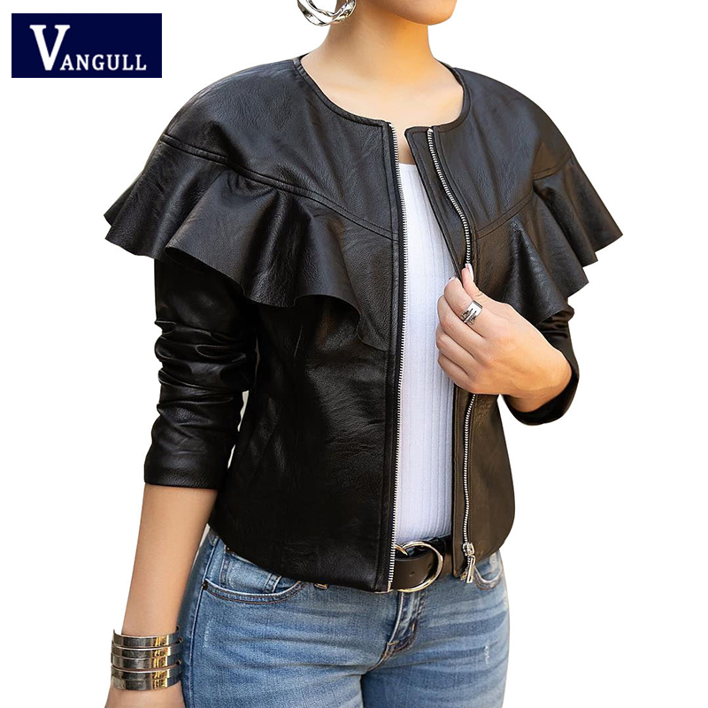 Vangull Spring Fashion Casual Women Faux   Leather   Jackets Long Sleeve O-Neck Zipper Streetwear PU Short Coats Slim Solid Tops
