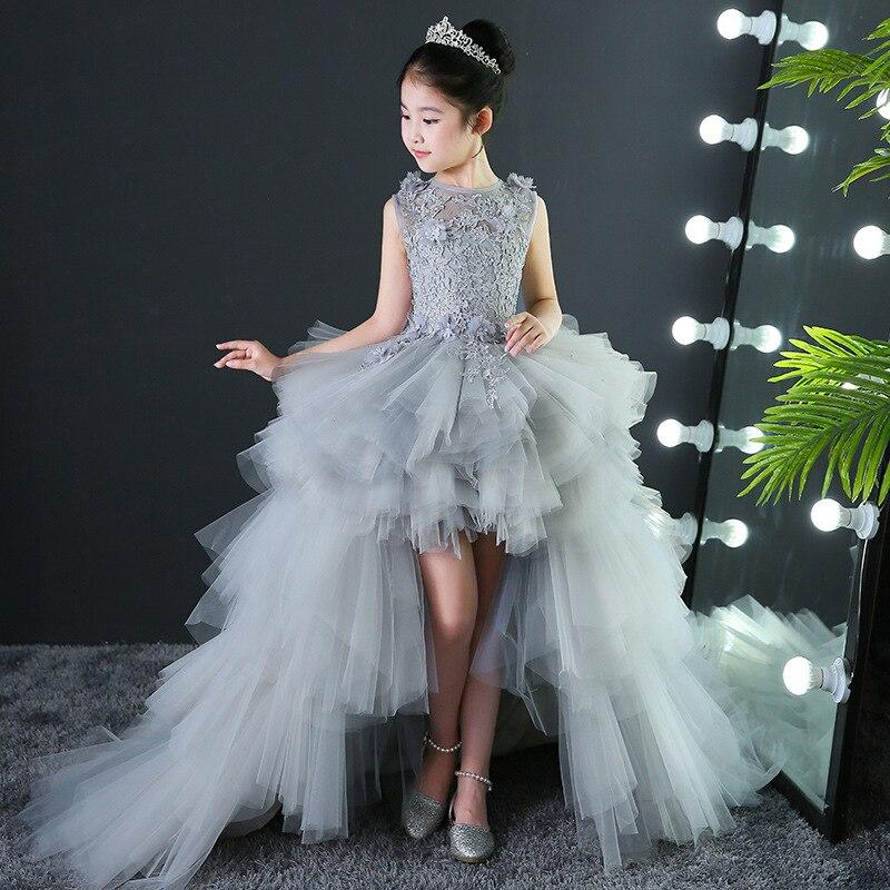 Custom Made Luxury Grey Pageant   Dress   Kids Birthday Wedding Ball Gown Party   Dress   Crystal Bandage   Flower     Girl     Dresses   Long Train