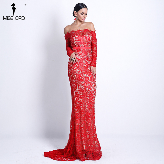 5e6bc5f38af28 Missord 2019 mujeres Sexy encaje hombro vestidos sin espalda Maxi elegante  vestido de fiesta Vestdios FT18306