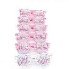 6pcs/lot Wedding Party Sunglasses / Pink and White