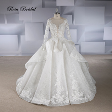 Rosabridal Wedding Dress Ball Gown 2019 Latest Designs Long Sleeves beading lace appliques bodice ruffled skirt court train tail