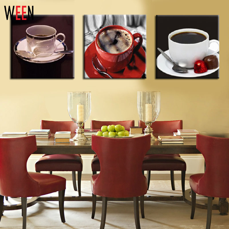 3 Piece Wall Art Painting On Canvas coffee cup kitchen Canvas ...