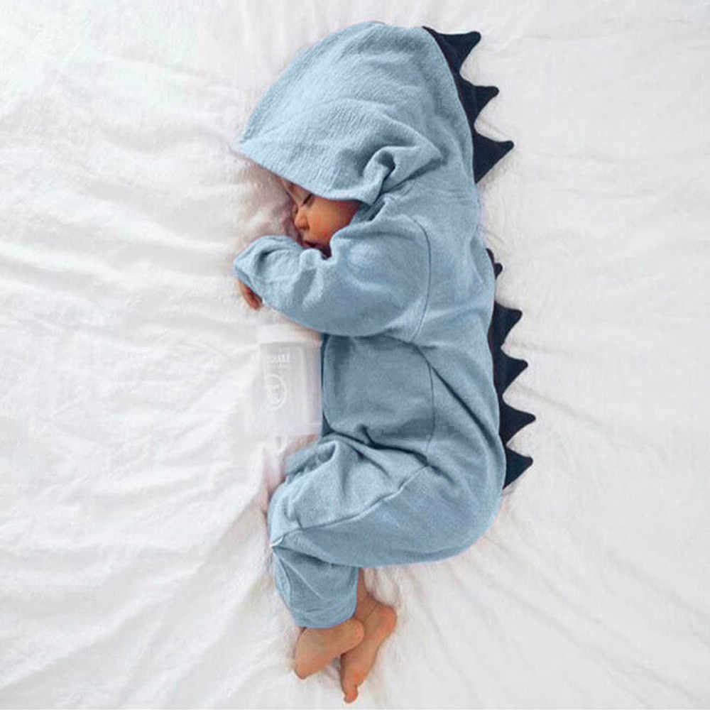 Cute baby clothes Newborn Infant Baby Boy Girl Dinosaur Hooded Romper Jumpsuit baby long sleeve autumn winter Outfits ropa bebe