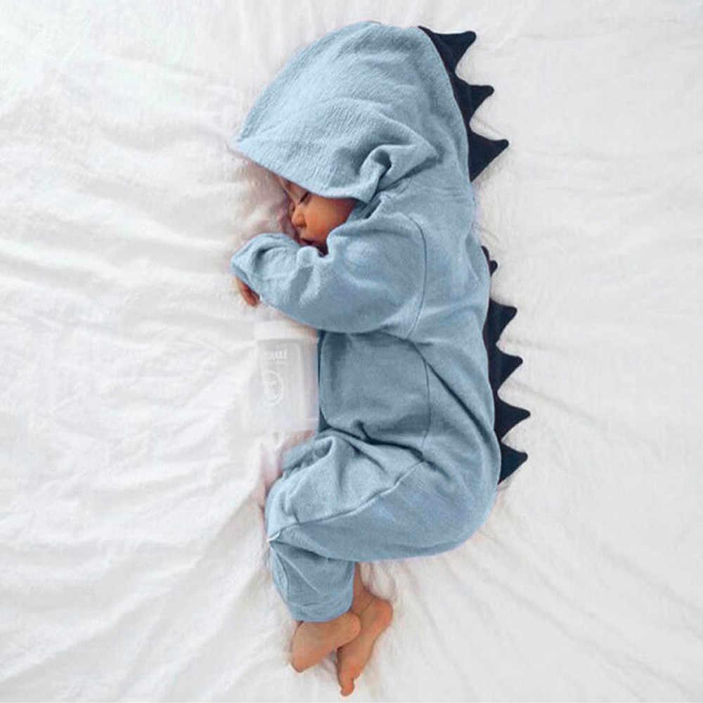 เสื้อผ้าเด็กน่ารักทารกแรกเกิดทารกเด็กทารกไดโนเสาร์ Hooded Romper Jumpsuit เด็กแขนยาวฤดูใบไม้ร่วงฤดูหนาวชุด ropa bebe