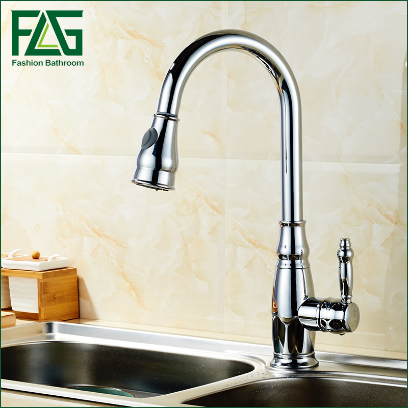 FLG Kitchen Faucet Hot and Cold Sink Brass Polished Chrome Single Handle Copper Kitchen Mixer Taps tap pull out down kitchen fa pull out kitchen faucet brass single holder put down hot and cold water mixer sink tap black