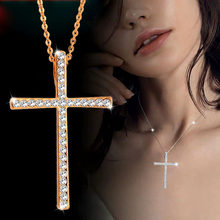 SINLEERY Silver Color Rhinestone Cross Pendant Necklace Chain For Women And Girl Xl402 Free Shipping SSH(China)