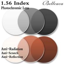 1.56インデックス非球面光学フォトクロミック処方レンズCR 39近視レンズメガネレンズ抗放射線反射2個BC005