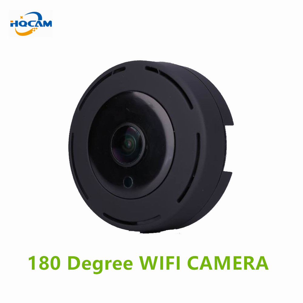 HQCAM HD 720P 180 Degree Panoramic Wide Angle Cam MINI Cctv Camera Smart IPC Wireless Fisheye IP Camera P2P Security Wifi Camera 1mp mini camera ip wireless 720p hd smart 180 panoramic network mini security p2p camera home cctv surveillance ip camera