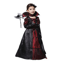 Children Princess Vampire Cosplay Costumes Halloween Costume For Kid Long Dress With Hair Band Carnival Party