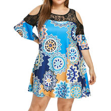 Cold Shoulder Lace Summer Sexy Dress 2019 Women Boho Vintage Floral Print Beach Dress Elegant Party Dresses Plus Size 5XL(China)