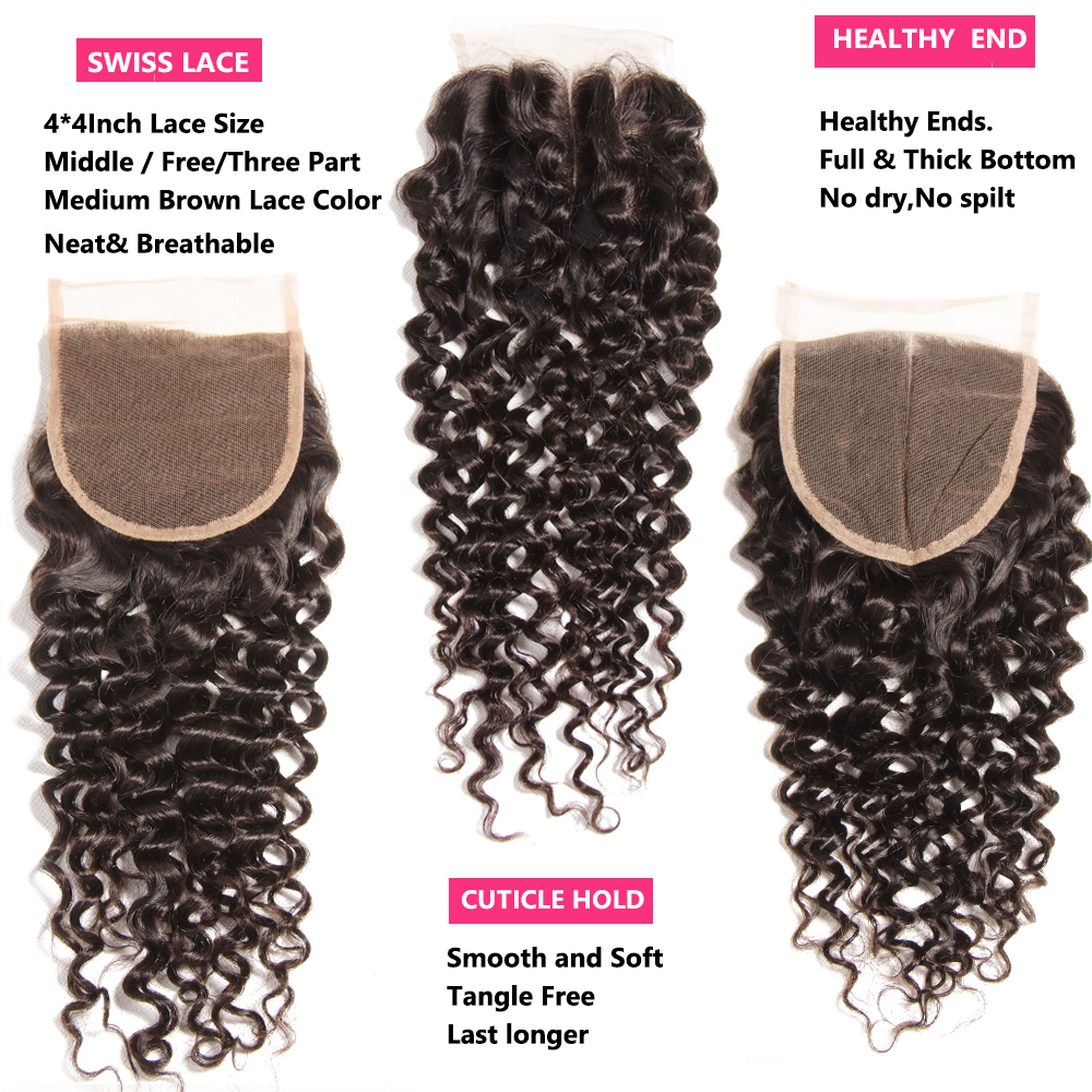 Nadula Hair Brazilian Curly Bundles With Closure 4*4 Lace Closure Remy Human Hair Bundles With Closure 3 Bundles With Closure