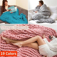 Hot Yarn Knitted Blanket Handmade Hand-knitted Warm Chunky Knit Blanket Merino Soft Wool Thick Yarn Bulky Sofa Throw