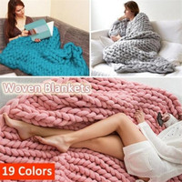 Hand Knitted Warm Chunky Knit Blanket Merino Soft Wool Thick Yarn Bulky Sofa Throw