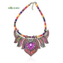 Women hippie chokers necklaces & pendants maxi statement chockers multicolor boho ethnic collar female bohemian jewellery blue