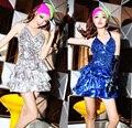 Женщины Девушки Холтер Блесток V-образным Вырезом Латинский Танец Костюм Партии Мини Короткие Торт Платье Певица Этап Наряд