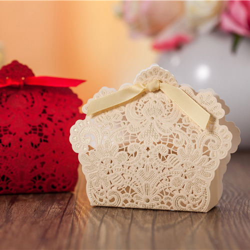DHL Gold Red Laser Cut Wedding Favor Boxes Luxury Lace Flower