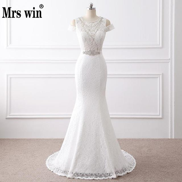 2018 New Lace Wedding Dress Elegant Appliques O Neck White Ivory Mermaid  Bridal Gown Vestido De Noiva With Sash 4791630b0686