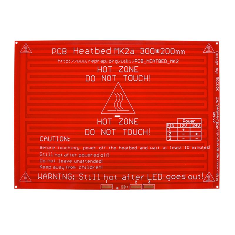 BIQ MK2A Heatbed with led Resistor and cable for 3D printer RepRap RAMPS 1.4 hot bed 300*200*2.0 + 100K ohm NTC 3950 Thermistors