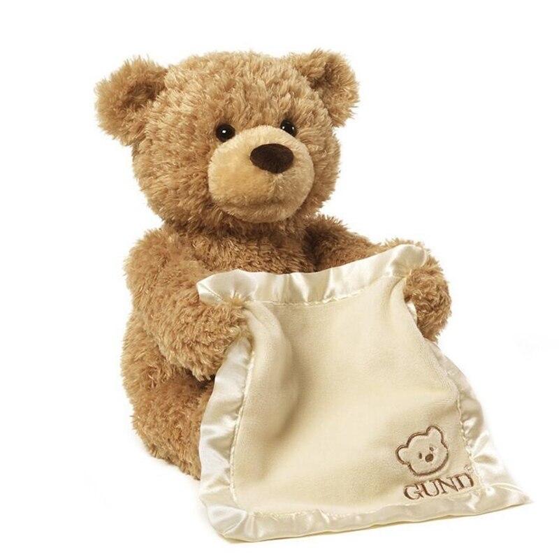 Peek a Boo Teddy Bär Spielen Verstecken Und Suchen Schöne Cartoon Gestopft Kinder Geburtstag Geschenk 30 cm Nette Musik Tragen plüsch Spielzeug