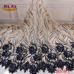 Image 5 - 2020 באיכות גבוהה אפריקאי פאייטים בד תחרה צרפתית נטו רקמת טול תחרה בד ניגרי חתונה מסיבת שמלת XY2651B 2