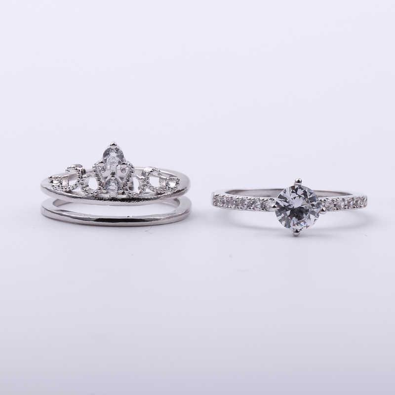 เงินมงกุฎชุดแหวนผู้ชายผู้หญิงแหวนสีขาว Zircon Vintage ทองแดงแหวนงานแต่งงานแหวนหมั้นแหวนเจ้าสาวชุดเครื่องประดับ