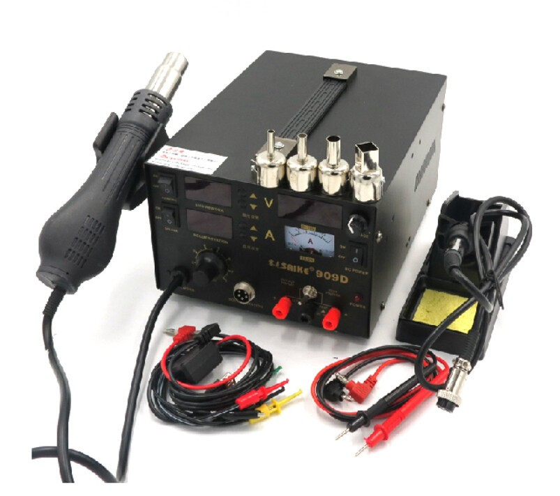 Free shipping 3 in 1 Hot air gun rework station SAIKE 909D +Soldering station power supply soldering machine 220V or 110V  dhl free saike 852d iron solder soldering hot air gun 2 in 1 rework station 220v 110v many gifts