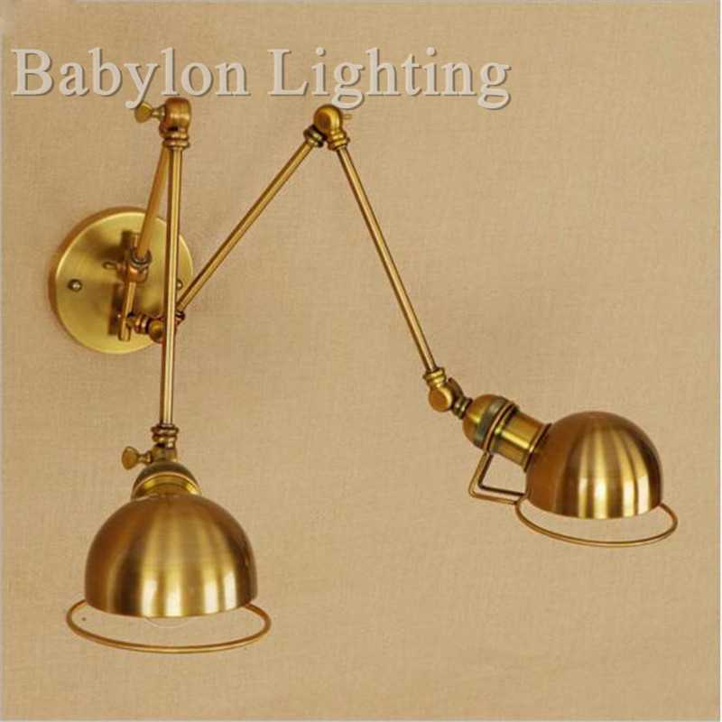 2 Head Golden Swing Long Arm LED Wall Light Fixture Wandlamp Retro Loft Industrial Wall Lamp Vintage Edison Sconce Lampara Pared бумажник golden head портмоне 3331501