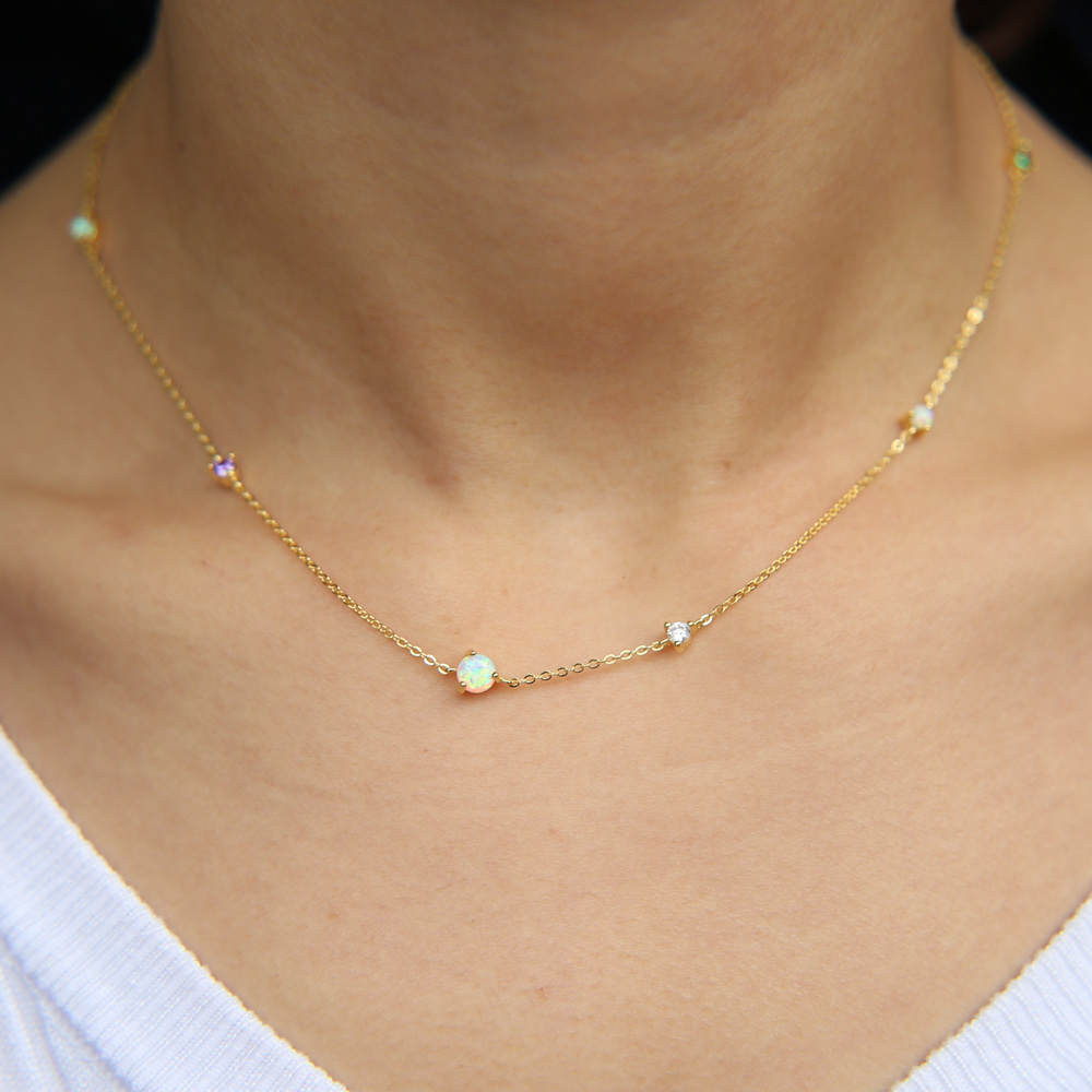 2018 new arrive gold filled delicate chain prong setting cz opal stone stunning delicate women chain necklace