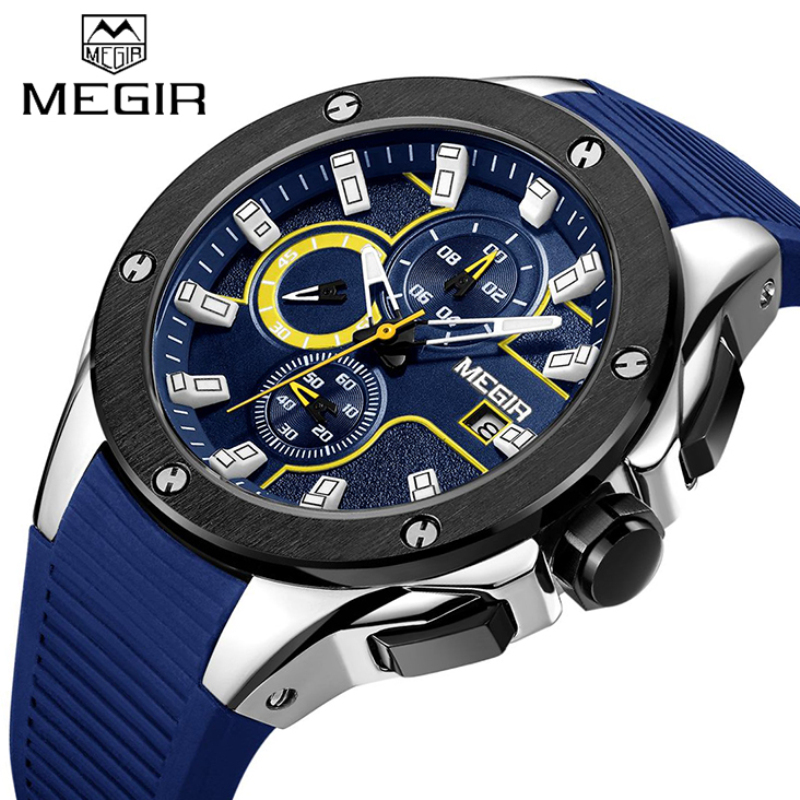 Top Brand MEGIR Men Sport Watch Chronograph Silicone Strap Quartz Military Watches Male Waterproof Wrist watch Relogio Masculino liebig brand men watches male 50m waterproof quartz watch with calendar for outdoor sport leather strap relogio masculino 1014