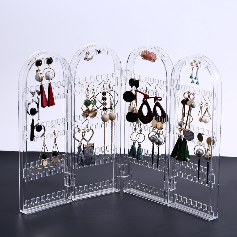 4 Doors Clear Acrylic Jewelry Organizer Plastic Storage Box for Earring Display Rack for Decoration Transperant Cajas De Regalo